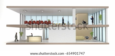 section office building cutaway isolated on white. 3d rendering Stock photo ©