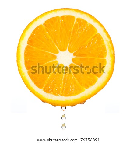 Section orange with drop. The detailed photo on a gleam. It is isolated on a white background