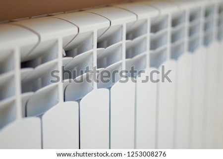 sections of aluminum radiator heating closeup #1253008276
