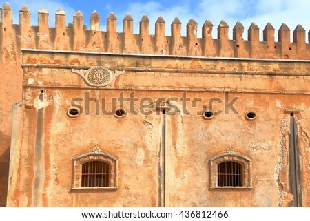 Sector of the old walls of the Kasbah of the Udayas in Rabat, Morocco