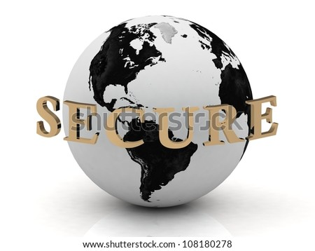SECURE abstraction inscription around earth on a white background