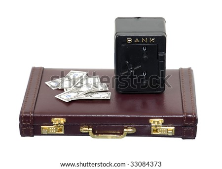 Secure bank vault for storing money and items of value on a briefcase - path included