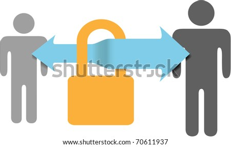 Secure communications data link protects computer people through a safe security lock connection - stock photo