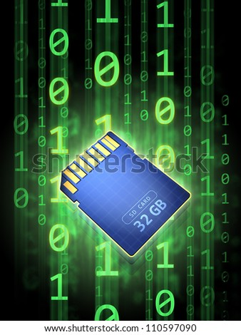 Secure digital memory card over a binary code background. Digital illustration.