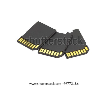 Secure Digital memory cards on white background - stock photo