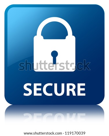 Secure glossy blue reflected square button