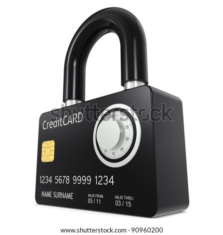 Secure online payment. Credit Card made like a Padlock, with Combination Lock