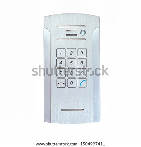 Secure password on keyboard for opening home house door isolated on white background. Password code Security keypad system protected in Public Building.                              #1504997411