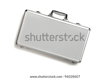Security aluminum case on white background