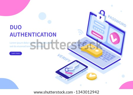 Security authentication concept. Can use for web banner, infographics, hero images. Flat isometric illustration isolated on white background.