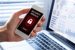 Security breach warning on smartphone screen, device infected by internet virus or malware after cyberattack by hacker, fraud alert with red padlock icon