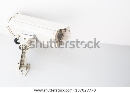 security cam on the white wall