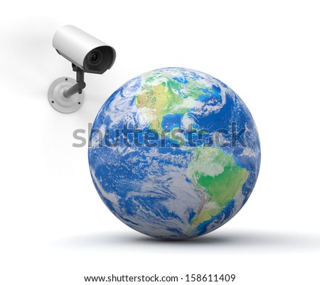 security camera and globe. Earth map provided by NASA #158611409