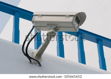 Security Camera,CCTV on the wall - stock photo