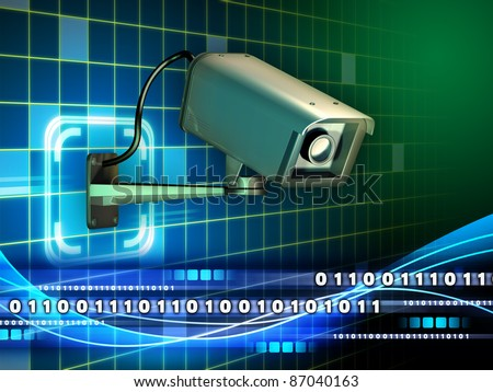 Security camera checking a data stream. Digital illustration.