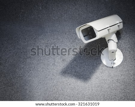 Security camera equipment on wall Safety system area control