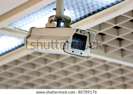 Security camera in the public place of buildings