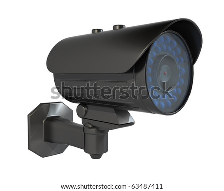 Security camera, Isolated on a white background. Clipping path included.