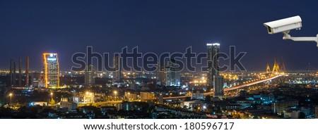 Security camera monitoring the Bangkok cityscape that can see The Bhumibol Bridge at twilight, thailand