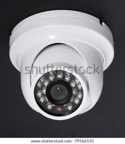 security camera on dark background