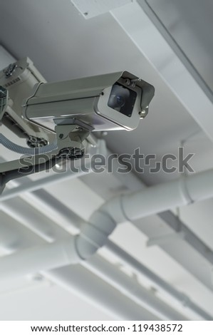 Security camera on the ceil with housing