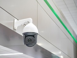 security camera surveillance on wall public places and area monitoring people of the citizens and tourists traveling keeping watch of making criminal activities to protecting and identify bad people