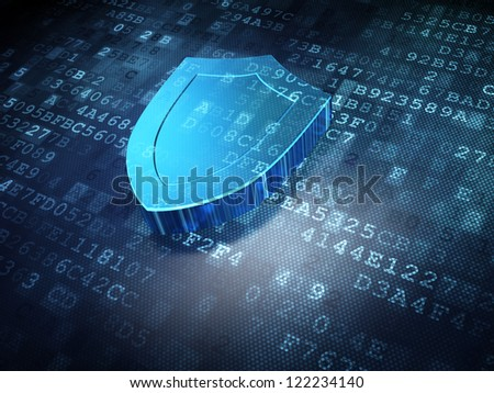 Security concept: blue shield on digital background, 3d render