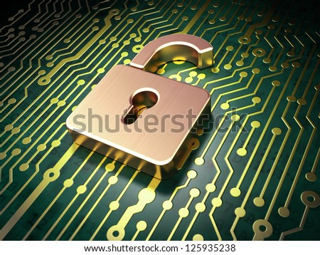 Security concept: circuit board with Opened Padlock icon, 3d render