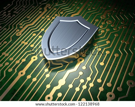 Security concept: circuit board with shield icon, 3d render