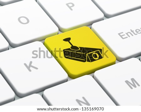 Security concept: computer keyboard with Cctv Camera icon on enter button background, selected focus, 3d render