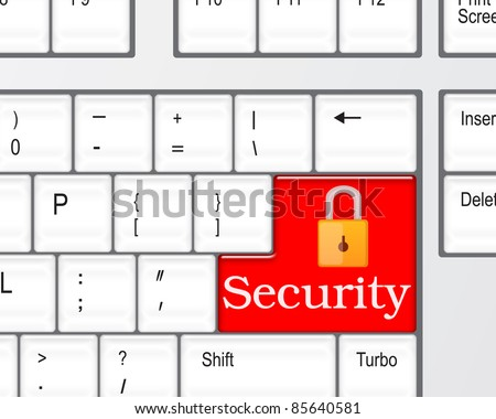 Security concept - computer keyboard with Security keypad - stock photo