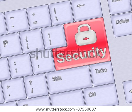 Security concept - computer keyboard with Security keypad