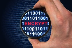 Security concept, encrypted binary code with encrypt word inside