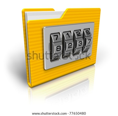 Security concept: file folder with combination lock isolated on white background