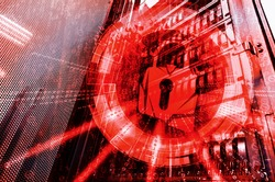 Security concept: hacked the padlock on the background of mainframe data center