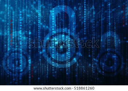 Security concept: Lock on digital screen, cyber security concept background. 3d render