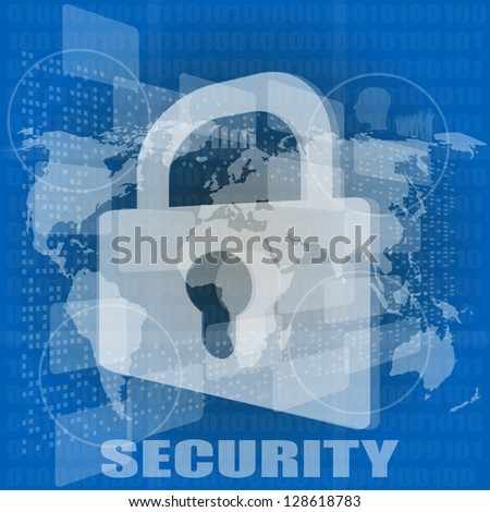 Security concept: Lock on digital screen, raster