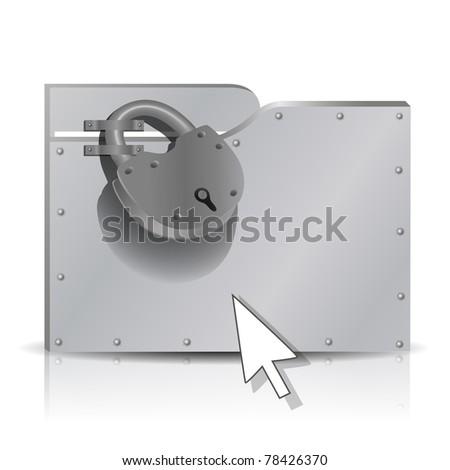 Security concept: locked  metal folder, mesh, gradient, transparency.