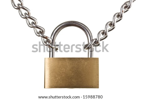 Security concept - padlock on chain isolated on white background