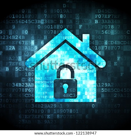 Security concept: pixelated home icon on digital background, 3d render
