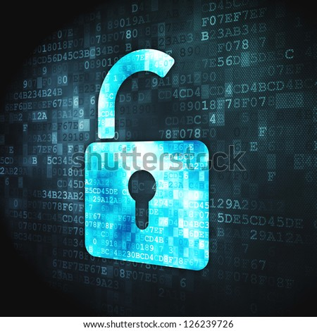 Security concept: pixelated Opened Padlock icon on digital background, 3d render - stock photo
