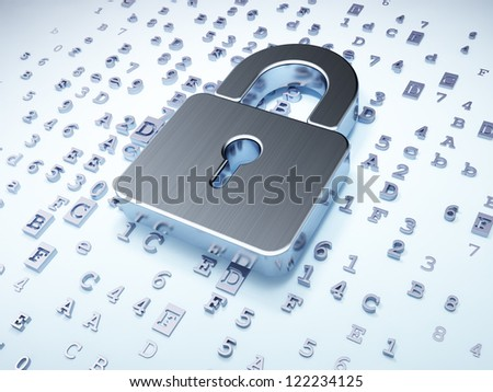 Security concept: silver closed padlock on digital background, 3d render