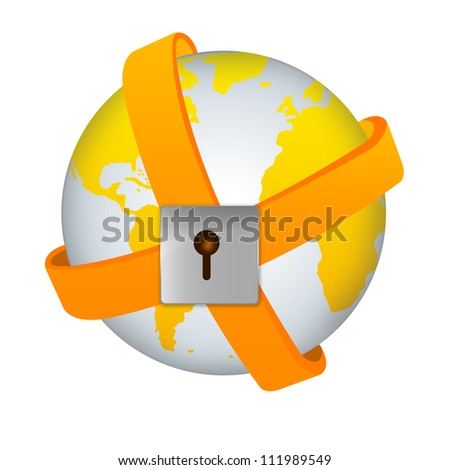 Security Concept - Yellow Earth Surrounded By Orange Band With The Lock Isolated on White Background
