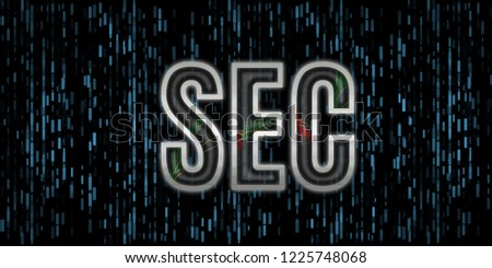 Security Exchange Committee text illustration. SEC letter metallic edge with stock graphs inside reflect glass cover with blue rectangle background. For cryptocurrency, stock market, capital control