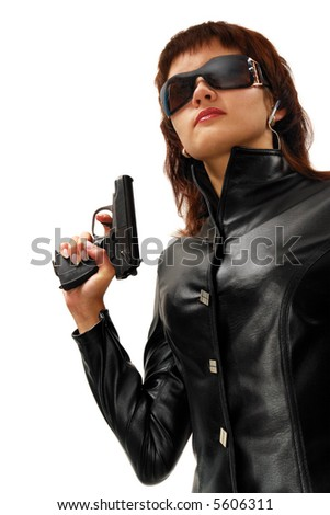 Security girl with gun. Isolated on white. - stock photo