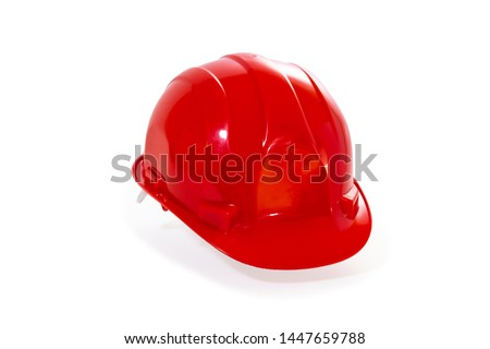 security green helmet for civil protection isolated on white background Foto stock ©
