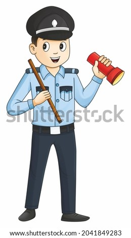 Security guard isolated in the white background, indian guard, security guard standing pose, cute security guard with torch and stcik