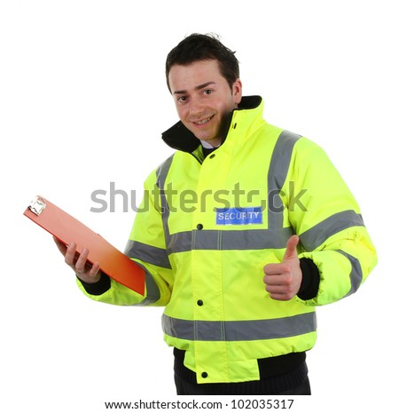 Security guard with a red clipboard and a thumbs up sign, isolated on white