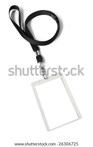 Security ID pass on a black lanyard.  Isolated on white, ready for your text.