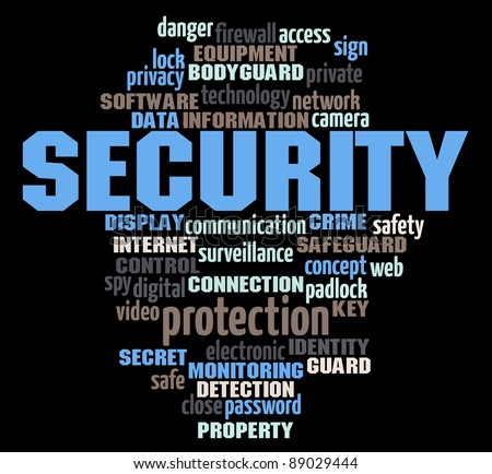 security info-text graphics and arrangement concept on black background (word cloud)